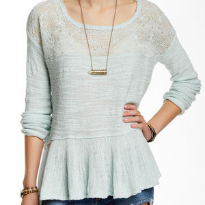 Free People Large Long Sleeve Peplum Ruffled Top